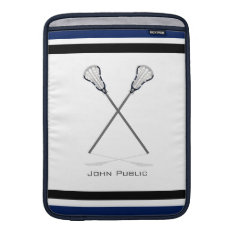 Personal Lacrosse Blue Black Macbook Air 13 Sleeve at Zazzle