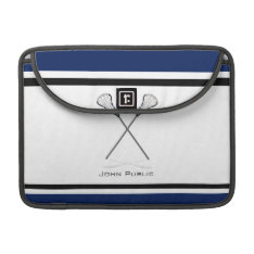 Personal Lacrosse Blue Black Macbook Pro 13 Sleeve at Zazzle