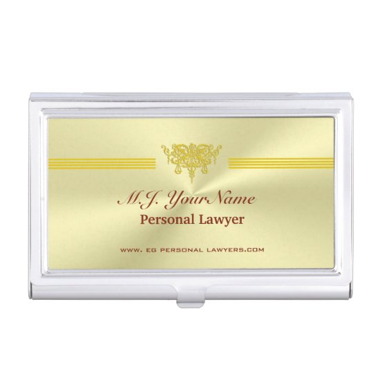 Personal Lawyer and golden justice logo Business Card Case