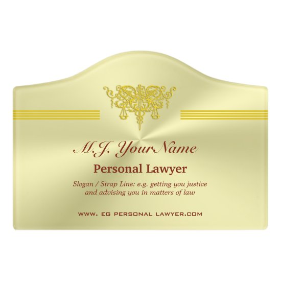 Personal Lawyer and golden justice logo Door Sign