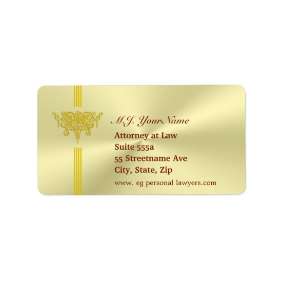 Personal Lawyer and golden justice logo Label