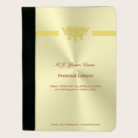 Personal Lawyer and golden justice logo Padfolio