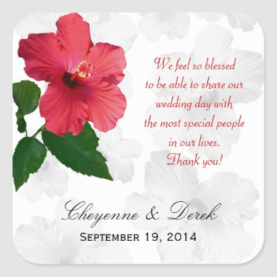 Personal Message Hibiscus Favor Labels Stickers
