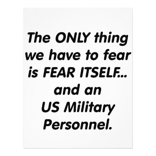 """Personal militar de los E.E.U.U. del miedo Folleto 8.5"""" X 11"""""""