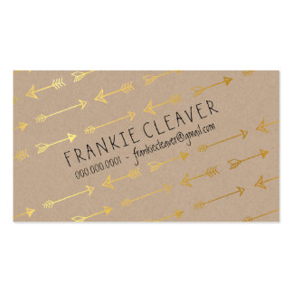 PERSONAL MODERN trendy arrow pattern gold foil Double-Sided Standard Business Cards (Pack Of 100)
