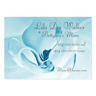Personal Mommy Card; Orchid Cyan & White Floral Large Business Card