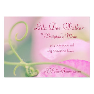 Personal Mommy Card; Pink Sweet Pea flower floral Large Business Cards (Pack Of 100)