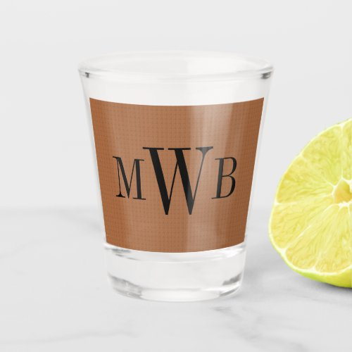 Personal Monogrammed Modern Neutral Brown Shot Glass
