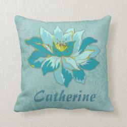 Personal Name Aquamarine Flower Throw Pillow