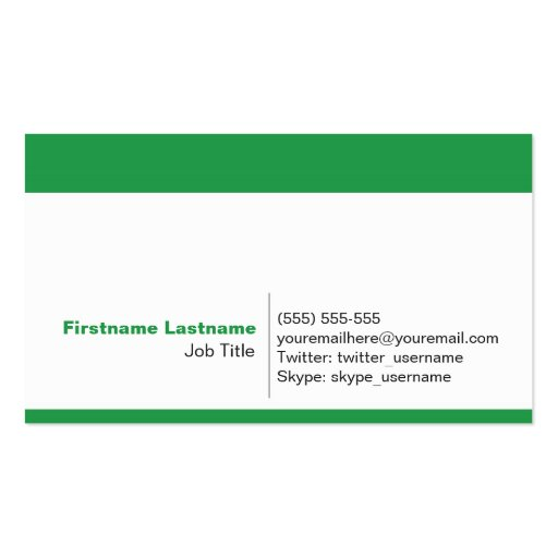 Personal Networking Business Cards in Green
