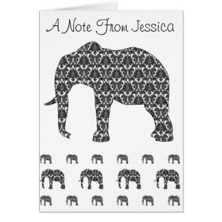 Personal Note Card With Damask Elephant