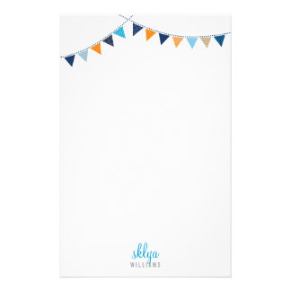 PERSONAL NOTE cute bright bunting blue orange Stationery