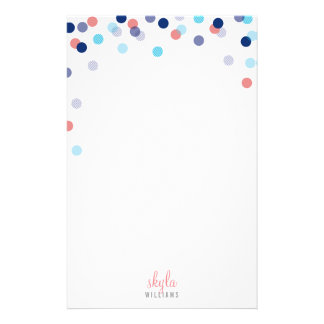 PERSONAL NOTE cute bright confetti navy blue coral Stationery