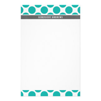 PERSONAL NOTE cute large polka dot bold jade green Stationery