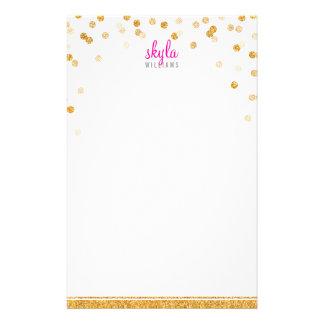 PERSONAL NOTE polka dot confetti bold gold glitter Stationery