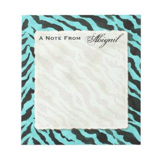 Personal Notes Aqua Blue Black Zebra Stripe Print Notepad