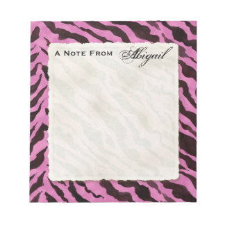 Personal Notes Hot Pink Black Zebra Stripe Print