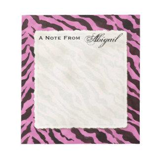 Personal Notes Hot Pink Black Zebra Stripe Print Note Pad