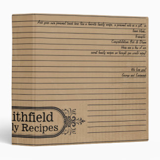Personal Notes Recipe Binder