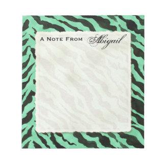 Personal Notes Teal Green Black Zebra Stripe Print Note Pad