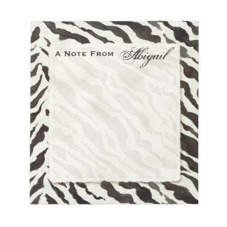 Personal Notes White Black Zebra Stripe Print Notepad
