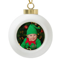 Personal Photo Ceramic Ball Christmas Ornament