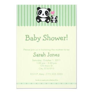 Personal Photo Panda Baby Shower - Green 5x7 Paper Invitation Card