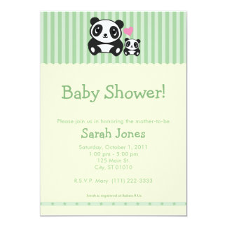 Personal Photo Panda Baby Shower - Green Card