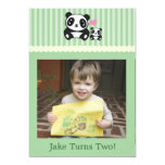 Personal Photo Panda Birthday Invitation - Green