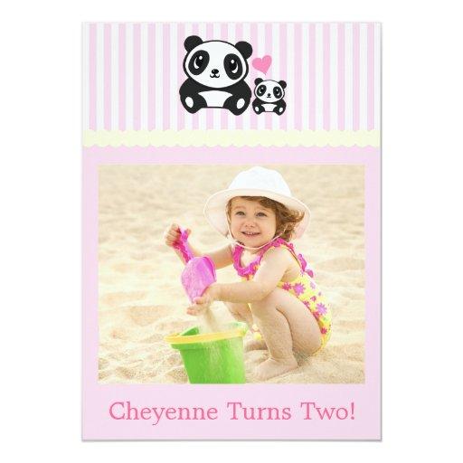Personal Photo Panda Birthday Invitation - Pink
