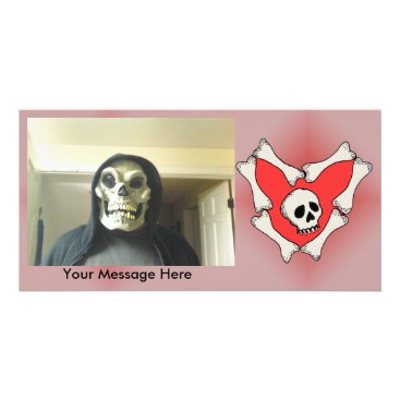 Halloween Themed Personal photo Skull in Heart of Bones on Red Card