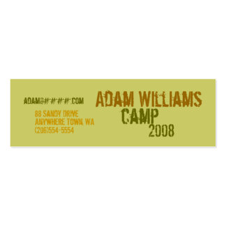 Personal Profile Cards - Camp Double-Sided Mini Business Cards (Pack Of 20)