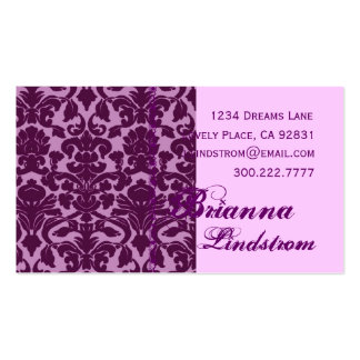 Personal PURPLE and PINK Damask Business Card