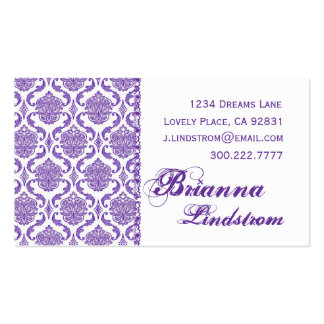 Personal Purple and White Damask Business Card