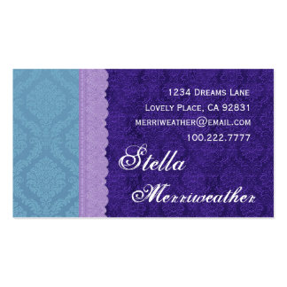 Personal Purple Damask and Lace V26 Business Card Templates
