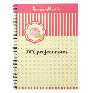 Personal Red & Yellow Stripes Polkadots and Rose Notebook