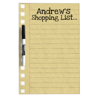 Personal Shopping List Dry-Erase Board