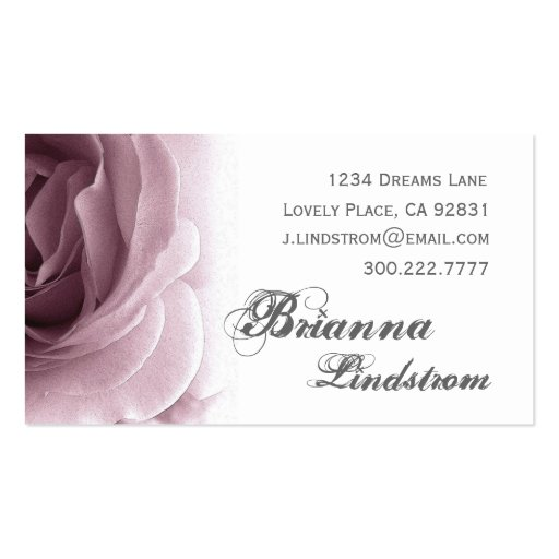 Personal Soft Purple Plum Floral Rose Template Business Card