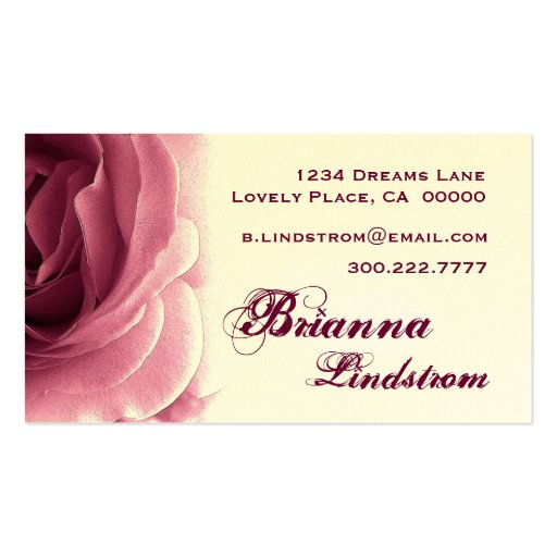 Personal Soft  Wine and Cream Rose Business Card Template
