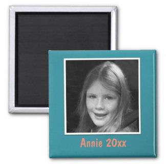 Personal Teal Greeting Custom Photo and Text Magnet
