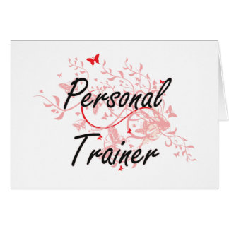 Personal Trainer Artistic Job Design with Butterfl Card