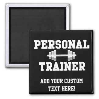 Personal Trainer Black and White Dumbell Training 2 Inch Square Magnet