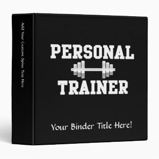 Personal Trainer Black and White Dumbell Training Binder