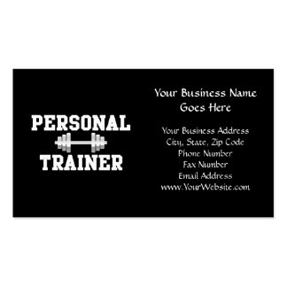 Personal Trainer Black and White Dumbell Training Business Card Template