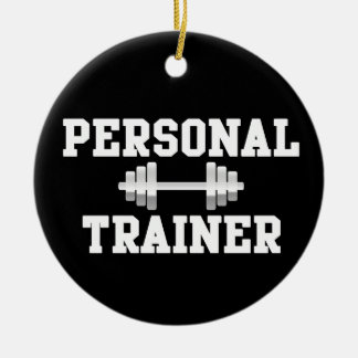 Personal Trainer Black and White Dumbell Training Ceramic Ornament