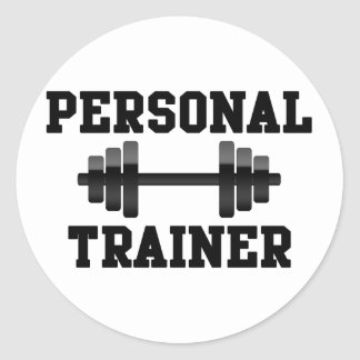 Personal Trainer Black and White Dumbell Training Classic Round Sticker