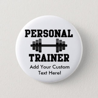Personal Trainer Black and White Dumbell Training Pinback Button