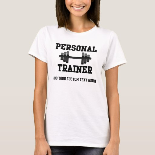 Personal trainer black and white dumbell training t shirt for Custom personal trainer shirts