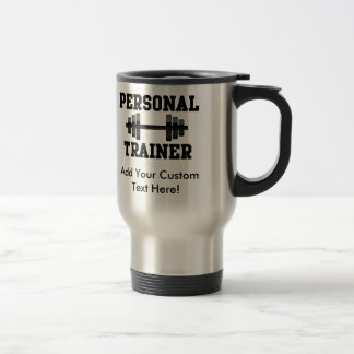 Personal Trainer Black and White Dumbell Training Travel Mug