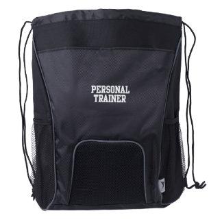 Personal Trainer Black Varsity Drawstring Backpack